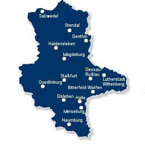 Karte Finanzämter Sachsen-Anhalt